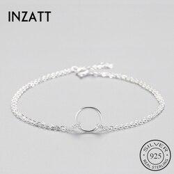 INZATT Minimalist 925 Ayar Gümüş Daire Bilezik Kadınlar Için Yuvarlak Geometrik Metal Zincir Güzel Takı Parti doğum günü hediyesi