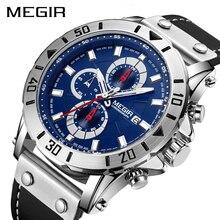 Chronograph นาฬิกาควอตซ์นาฬิกาผู้ชายแบรนด์หรู MEGIR Blue Men กีฬานาฬิกานาฬิกา Relogio Masculino Montre Homme ชั่วโมง