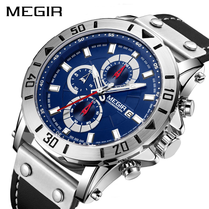 Chronograph Quartz Watches For Men Top Brand Luxury MEGIR Blue Men Sport Watch Clock Relogio Masculino Montre Homme Hour Time
