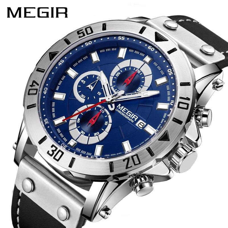 Chronograph Quarz Uhren für Männer Top Marke Luxus MEGIR Blau Männer Sport Uhr Uhr Relogio Masculino Montre Homme Stunde Zeit