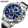 Reloj de cuarzo cronógrafo para hombre reloj de MEGIR de lujo azul para hombre reloj deportivo reloj Masculino Montre Homme hora