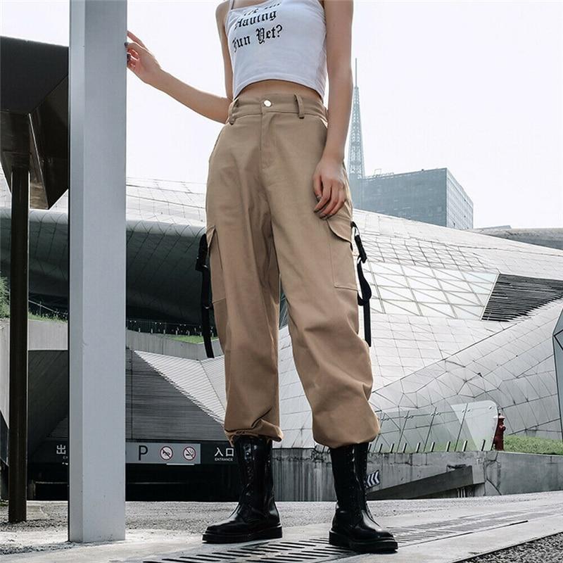 High Waist Pants Women Side Pocket Long Pants 2019 New Summer Fashion Female Loose Cargo Pant Casual Sweatpants Black Khaki