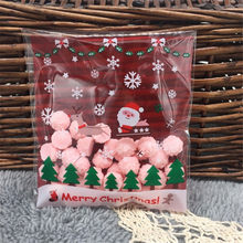 Creative 100pcs 10x10cm Christmas Santa Claus Biscuit Candy Bag Slef-adhesive Biscuit Bag Cookie Bags for Christmas Decor5ZHH206(China)
