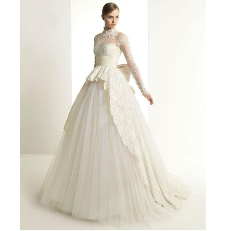 2015 Inimitable High Collar Long Sleeve Lace Appliques Princess Big Bow Bridal Gowns Vintage Wedding Dress Vestidos De Novias In Dresses From