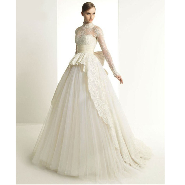 e84f719077e7 2015 Inimitable High Collar Long Sleeve Lace Appliques Princess Big Bow  Bridal Gowns Vintage Wedding Dress Vestidos De Novias