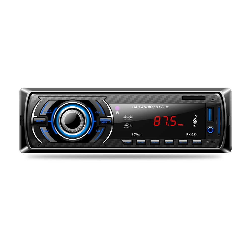 RK-523 Bluetooth car MP3 Player card machine U disk Built-in radio FM tuner Double USB Port Front AUX Audio I