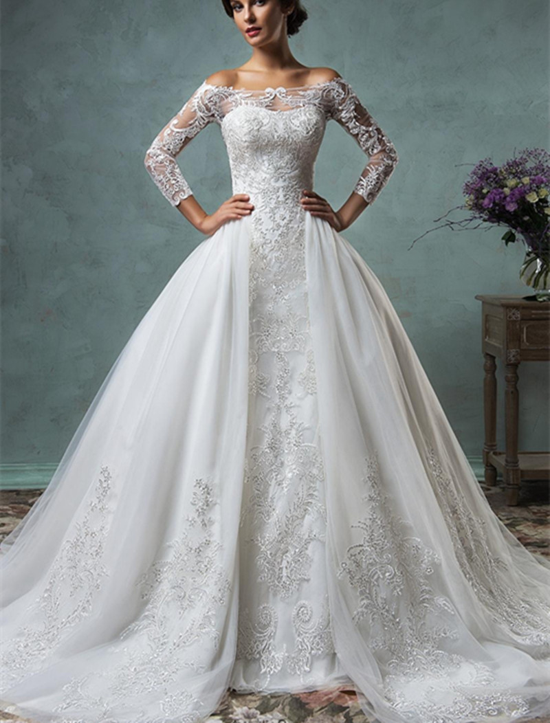 2017 new mermaid lace wedding dress with detachable train for Mermaid wedding dress with train