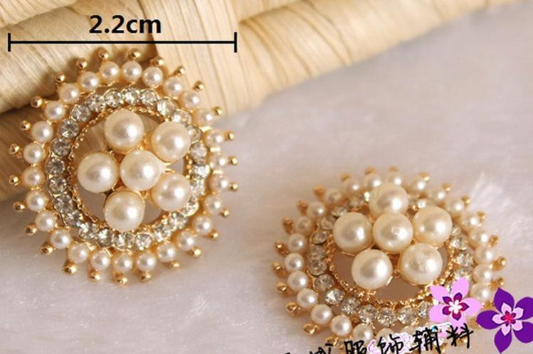 free shipping100pcs lot22mm pearl Rhinestone Alloy buttons crystal for wedding party dress accessories Mobile phone alloy