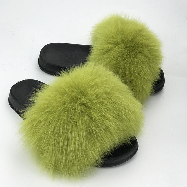 866394239b0 Real Raccoon Fur Slippers Women 2018 Sliders Casual Fox Hair Flat Fluffy  Fashion Home Summer Big Size 45 Furry Flip Flops Shoes