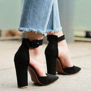 Image 2 - 2020 סקסי קלאסי גבוהה עקבים נשים של סנדלי קיץ נעלי גבירותיי רצועות משאבות פלטפורמת עקבים אישה קרסול רצועת נעליים