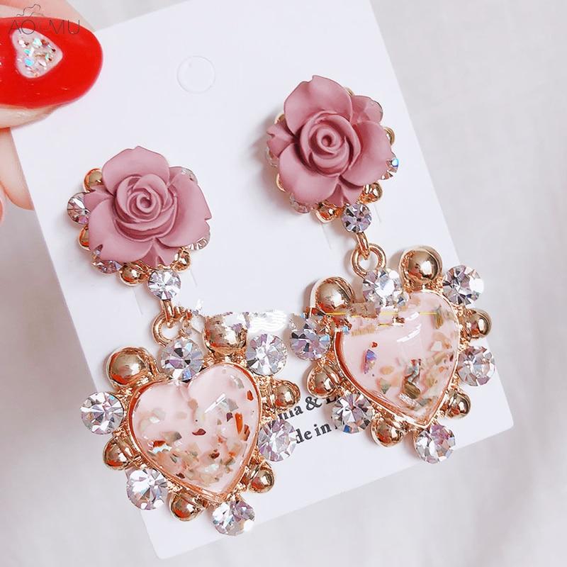 US $2.67 14% OFF AOMU Trendy Korean Shiny Luxury Rhinestone Love Heart Flower Drop Earrings for Women Girl Pendientes Party Jewelry -in Drop Earrings from Jewelry & Accessories on Aliexpress.com   Alibaba Group