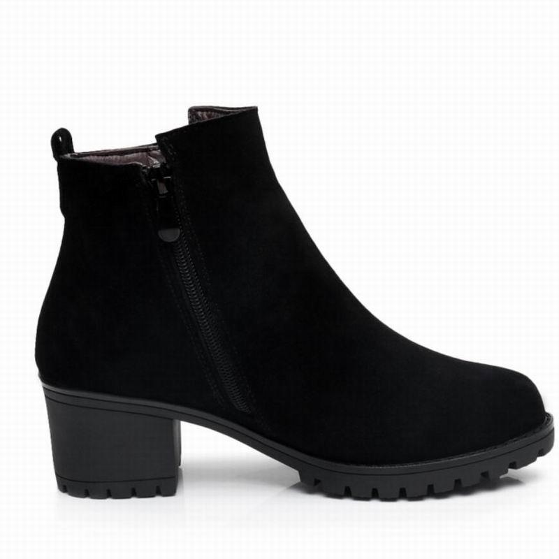 Black Femmes Vache Bout Taille En Daim Véritable Dames Femme Cheville Automne Fur Chaussures Thick 43 Bottes forme Rond Gktinoo Thin Plate D'hiver 34 Fur With Cuir black RqwRd