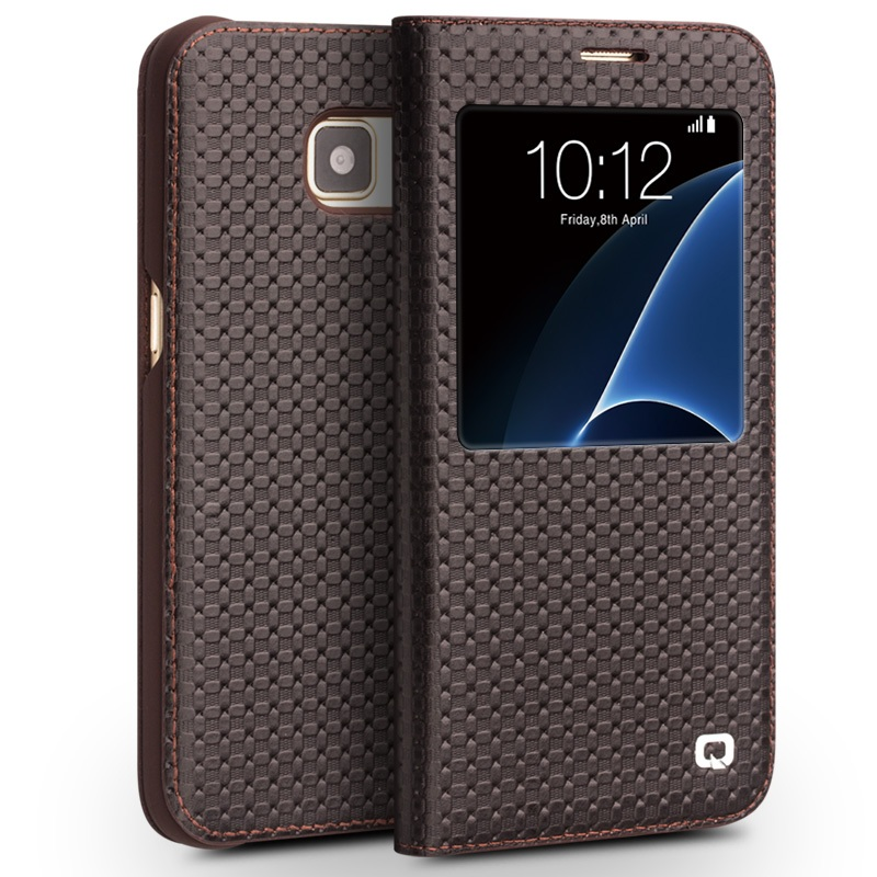 for Galaxy S 7 Leather Cases QIALINO for Samsung Galaxy S7 SM G930 Grid Genuine Leather
