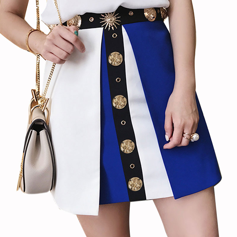 HIGH QUALITY Newest Fashion 2017 Runway Designer Skirt Women s Lion Metal Coin Beading Mini Skirt