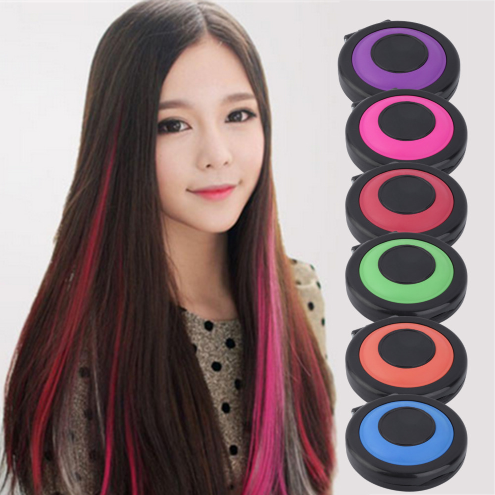 6 Colors Hair Color Crayons Temporary Hair Dye Powder Cake Styling