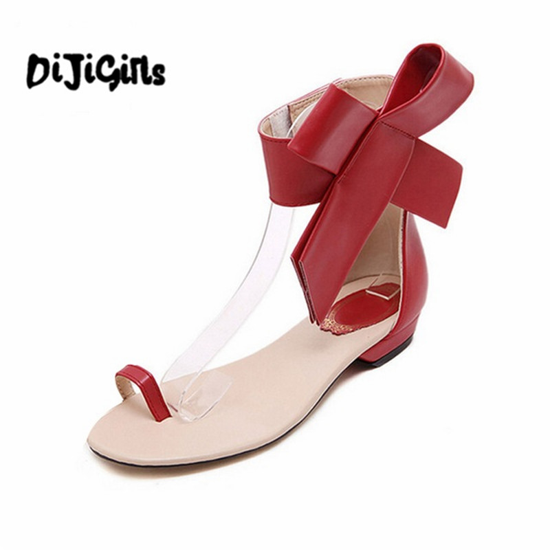 3 colors Summer Style New 2017 Fashion Women Casual Retro Big Bowtie Bow Sandals Flats With Sandalsv Shoes Woman Free Shipping new 2018 shoes woman sandals wedges lovely jelly shoes solid casual slippers summer style fashion slides flats free shipping