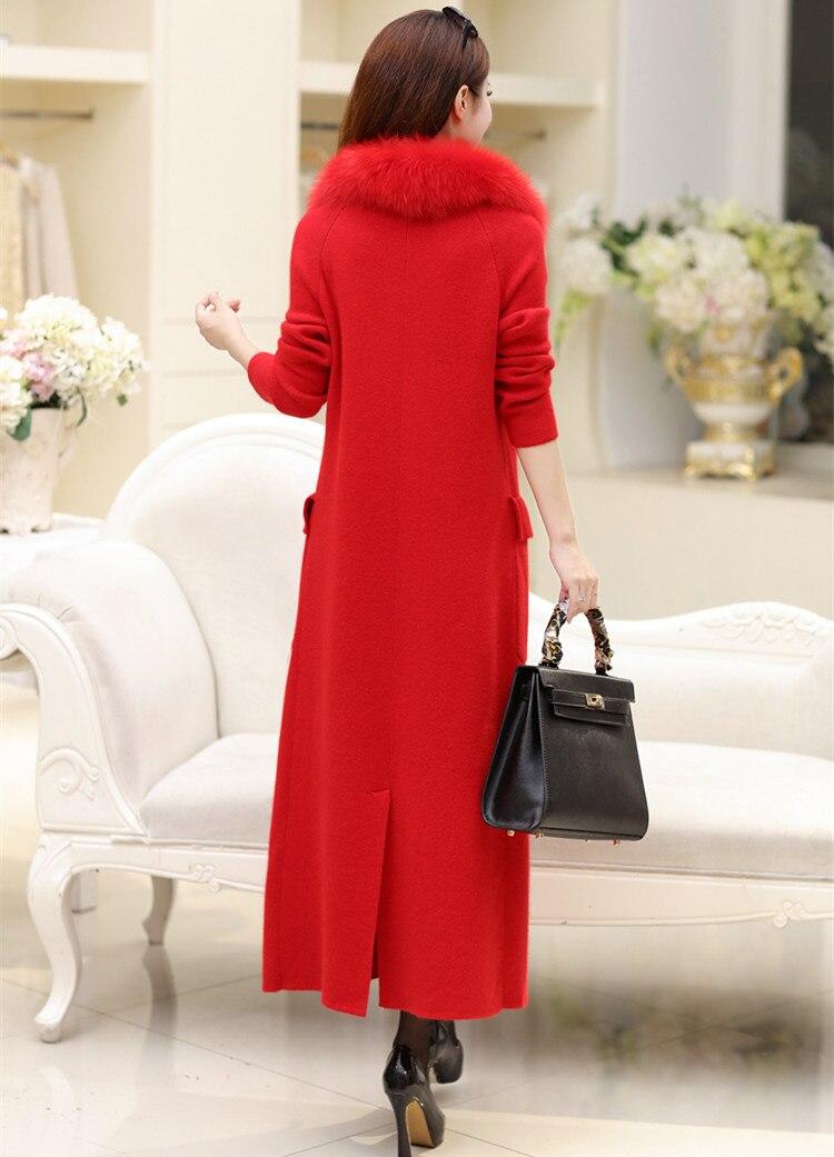 Long Black Mode red Col 2xl Pur Femmes Grey Chandail S Fourrure De Renard Cardigan Cachemire Vison Manteau 3 Couleur neutral cWHgwqH4S