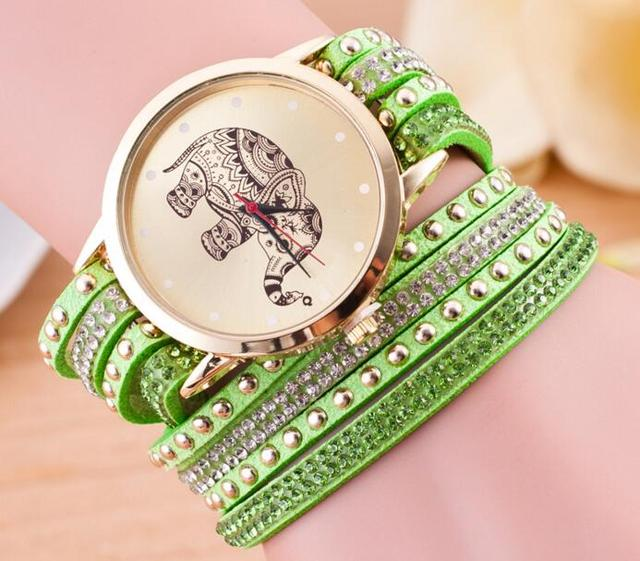 Hot Sale Black Leather Fashion Women Watch Elephant Velvet Multi Layered Bracelet Watches For Women Quartz Rhinestone Wristwatch