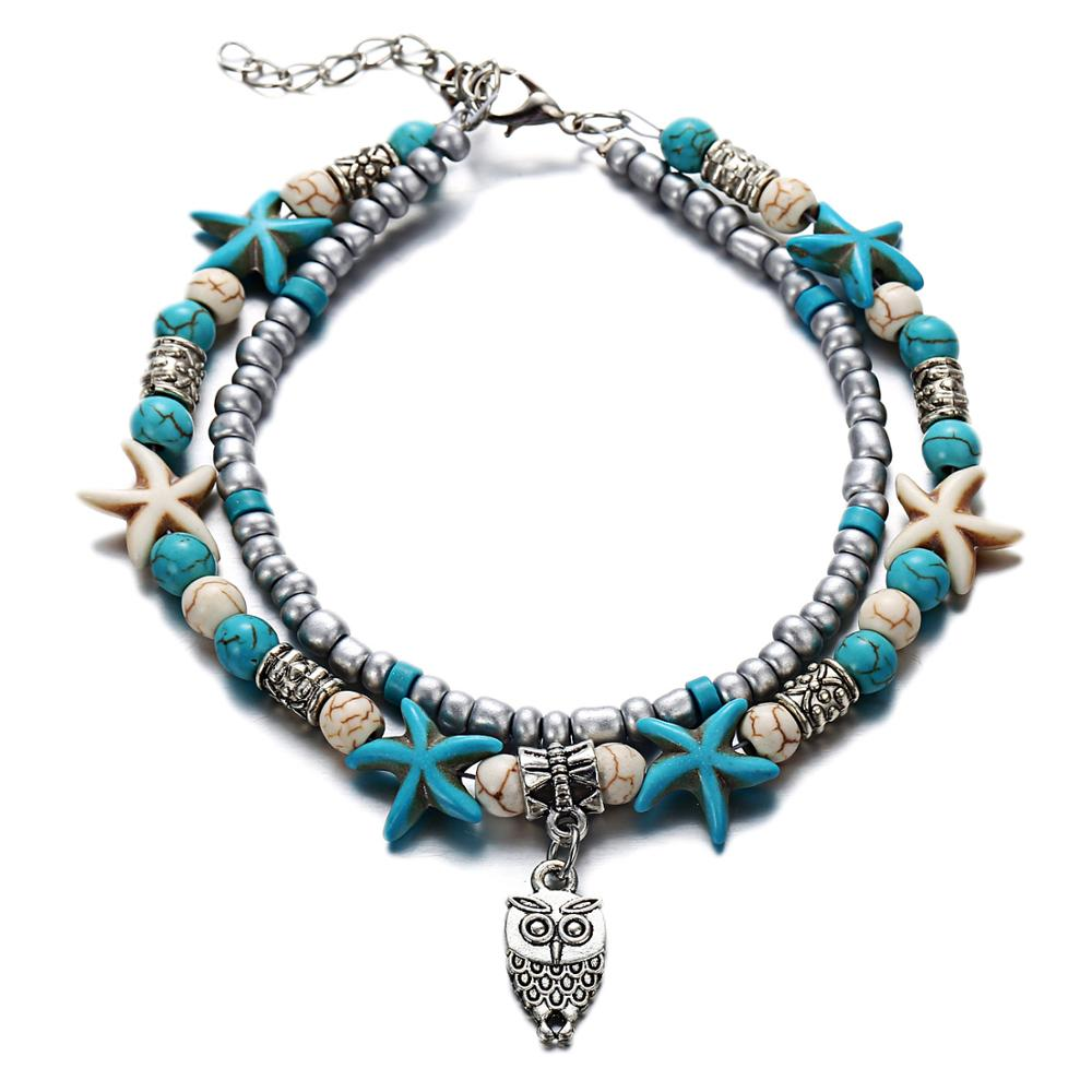 Fashion Double Foot Chain Conch Sea Star Rice Ball Yoga Beach Tortoise Foot Chain in Anklets from Jewelry Accessories
