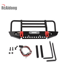 1/10 RC Alloy Front Bumper with Light for 1/10 RC Crawler Car Traxxas TRX-4 TRX4 Axial SCX10 & SCX10 II 90046 1 10 rc crawler accessory parts fire extinguisher model for axial scx10 trx4