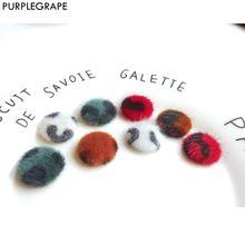 Leopard-print Round Button DIY Earrings Accessories Jewelry Material Hair Ball Manual 8 Piece PURPLEGRAPE