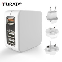 Turataクイックチャージャー3.0米国、eu、英国auプラグダッシュ充電器xiaomi roidmi 3 s iphone 7 8高