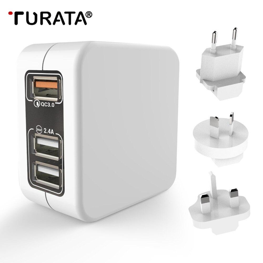Turata Schnellladegerät 3,0 US EU UK AU Stecker Dash Ladegerät für xiaomi roidmi 3 s iphone 7 8 Schnelle Ladegerät Usb-ladegerät Mit Reißverschluss tasche