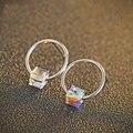 GZ Round 925 Silver Earring Women Jewelry AAA Box Crystal 100% S925 Sterling Silver Stud Earrings