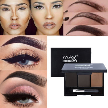 3 Color Eyebrow Enhancer Powder Palette Shadow Professional Long-lasting Easy to Wear Trimming Eyes Make up Eye Brow Tint