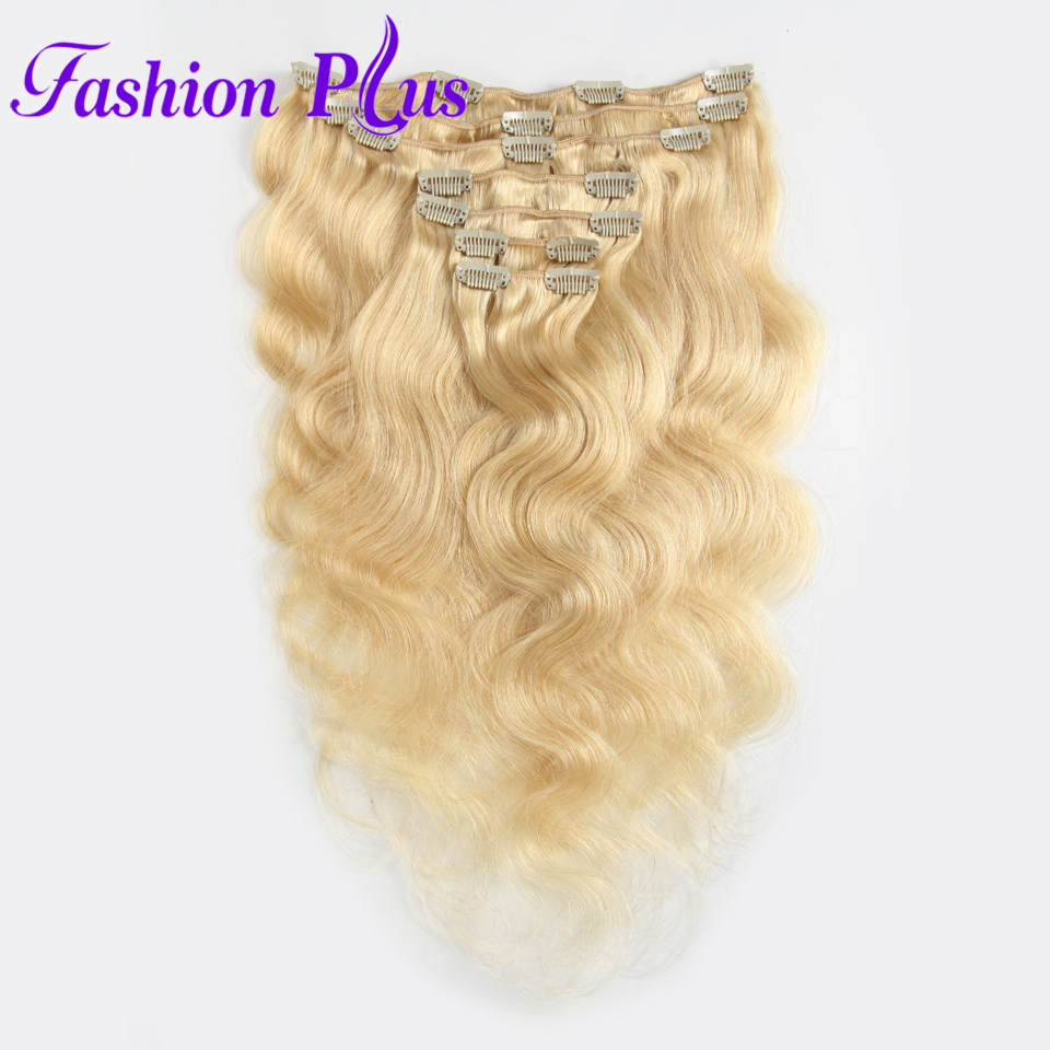 Fashion Plus Clip en Extensiones de cabello humano remy Body Wave - Cabello humano (blanco) - foto 3