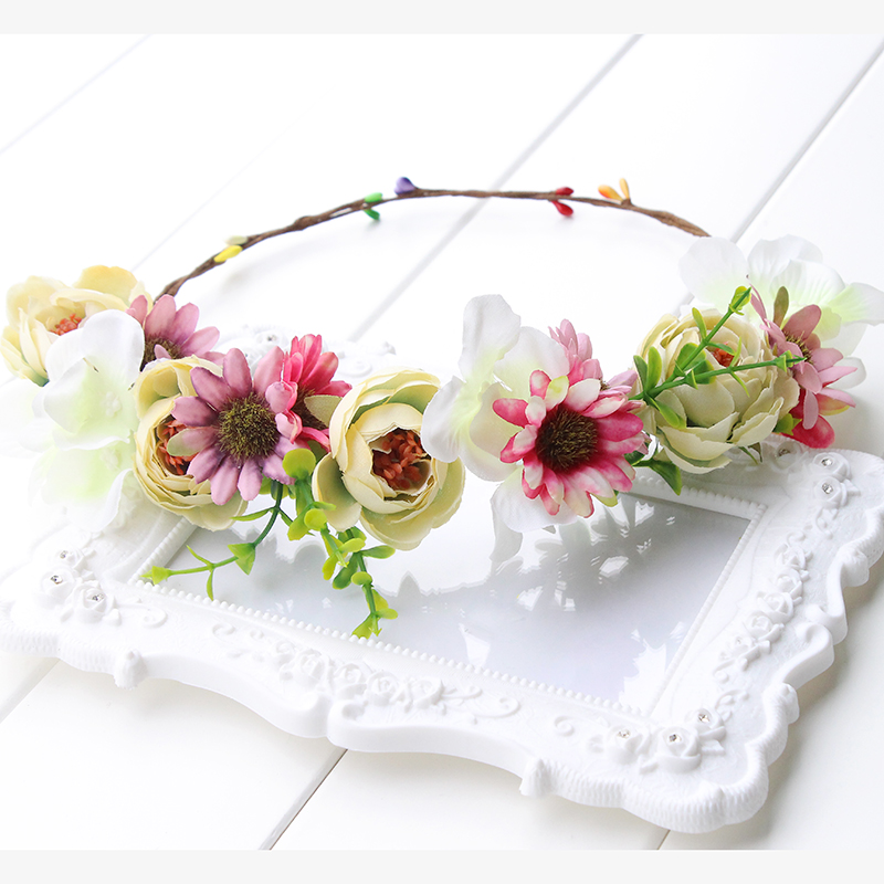 pink yellow green Flower Crown Headband Boho Hippie Festival Floral - Apparel Accessories - Photo 2