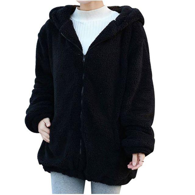 2018 Women Hoodies Zipper Girl Winter Loose Fluffy Bear Ear Hoodie Hooded Jacket Warm Outerwear Coat cute sweatshirt