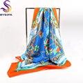 Laranja Azul Bandeira Praça Cachecóis Para Senhoras Acessórios Cadeia Cachecóis Cappa 90*90 cm Outono Inverno Feminino de Seda Pura sarja Tippet