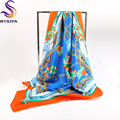 Orange Blue Flag Square Scarves For Ladies Accessories Chain Scarves Cappa 90*90cm Autumn Winter Female Pure Silk Twill Tippet