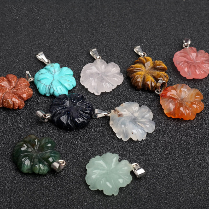 18x6.7mm 10PCS/lot Flower Shape Jaspers/Jades/Agates/Quartz Pendants For Jewelry Making Trinket For Women Gift DIY Pendant