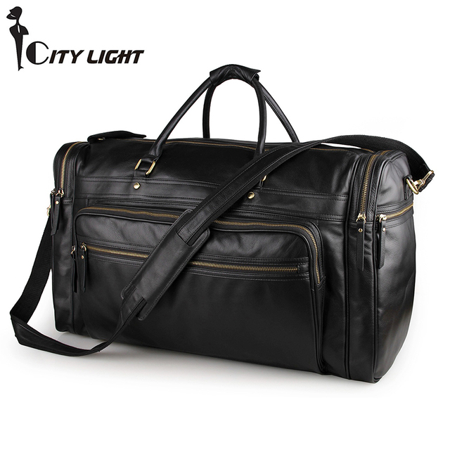 Genuine leather travel bag High-capacity  casual handbags shoulder bag Men's Duffle Travel Bags