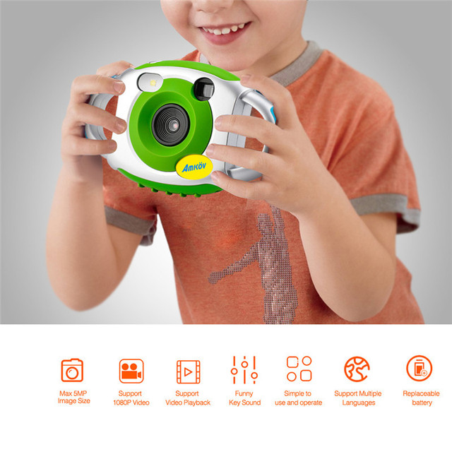 AMKOV Mini Camera Creativity Neck Camera Photography for Cute Kid Portable 5MP HD Camera Support Speaker Recording 32GB SD Card