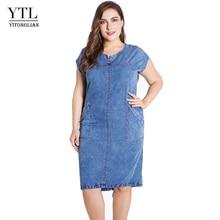 YTL קיץ גבירותיי שמלה בתוספת גודל לנשים בגדי עגול צוואר כיסים אלגנטי 4xl 5xl 6xl 7xl דק מפלגה שמלת Z25