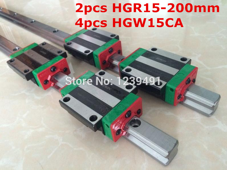 2pcs original hiwin linear rail HGR15 -  200mm  with 4pcs HGW15CA flange block cnc parts кеды zenden active zenden active ze008amprd20