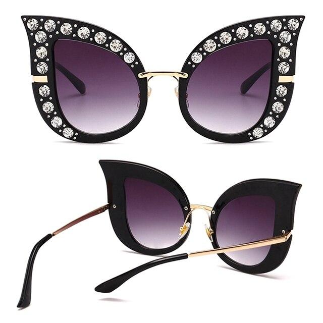 Moda de Luxo Gato Olho Óculos De Sol Das Mulheres de Diamante de Cristal Rhinestone Bling Quadro Shades oculos de sol Óculos de Sol de Grandes Dimensões 2018