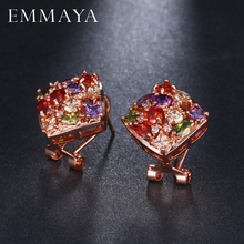 EMMAYA Classic Design Rose Gold Color Big Square CZ Cubic Zirconia Wedding Stud Earrings for Women(China)