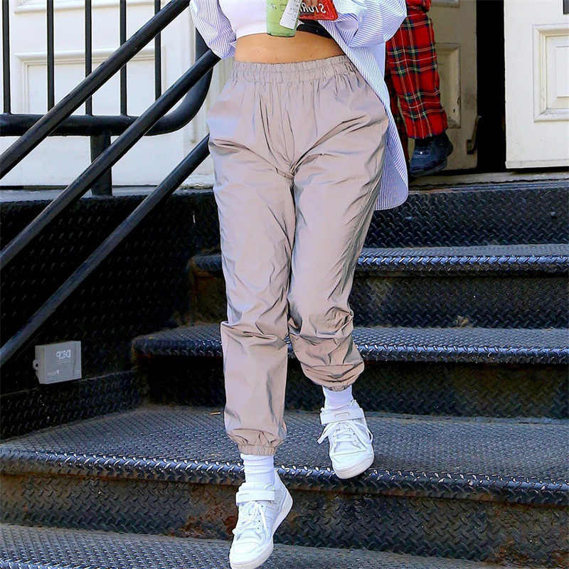 Longgar SPORTY Reflektif Celana Wanita Celana Olahraga Panjang Satin Jogger Baggy Kasual Hip Hop Fashion Streetwear Harajuku