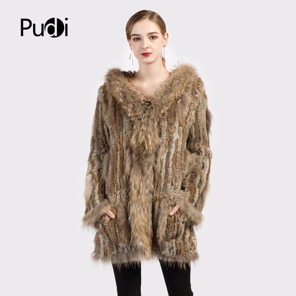 CT7010 Women knitted real genuine real rabbit fur coat overcoat jackets garment raccoon collar with hood