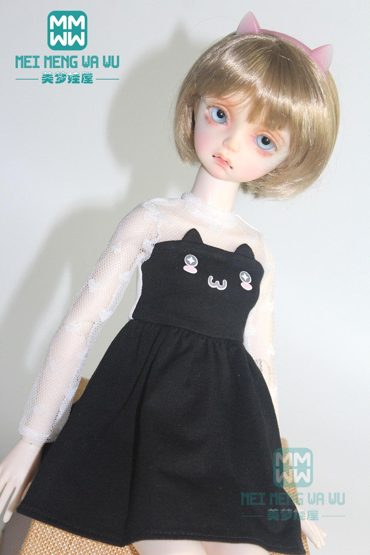 43cm 1/4 BJD Doll Clothes Fashion Cat Ear Dress Black, Pink, Blue