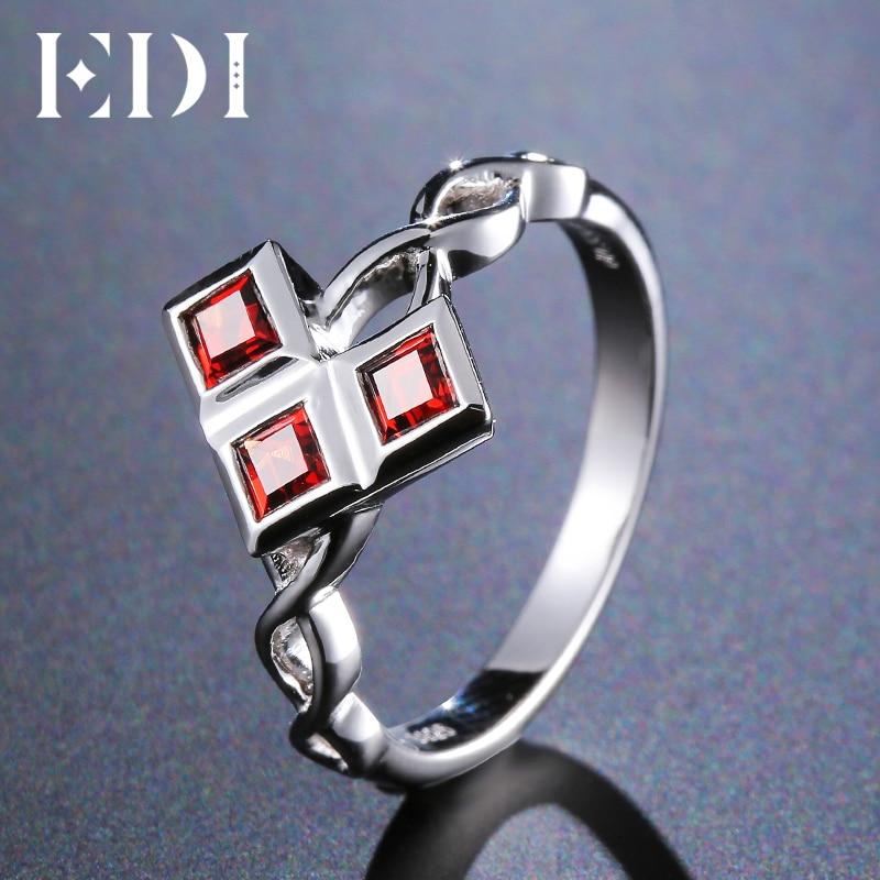 EDI Trend Arrow Triangle Natural Garnet 14k 585 White Gold Wedding Ring For Women Fine Jewelry chic solid color arrow triangle hairpin for women