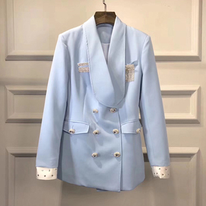 Image 3 - HIGH QUALITY Newest Fashion 2020 Designer Blazer Womens Double Breasted Crystal Diamonds Buttons Blazer Coat