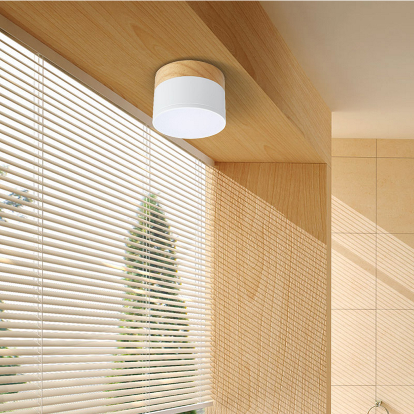 Modern Mini Led Ceiling Light 3/5w Round Hole porch light surface Wood Lights Balcony Window Aisle ceiling lamp Home Lighting simple style ceiling light wooden porch lamp square ceiling lamp modern single head decorative lamp for balcony corridor study