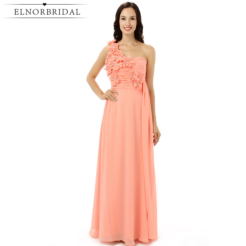 Elnorbridal Coral   Bridesmaid     Dresses   Long 2018 Real Photo One Shoulder Robe Demoiselle D'Honneur Maid Of Honor   Dress