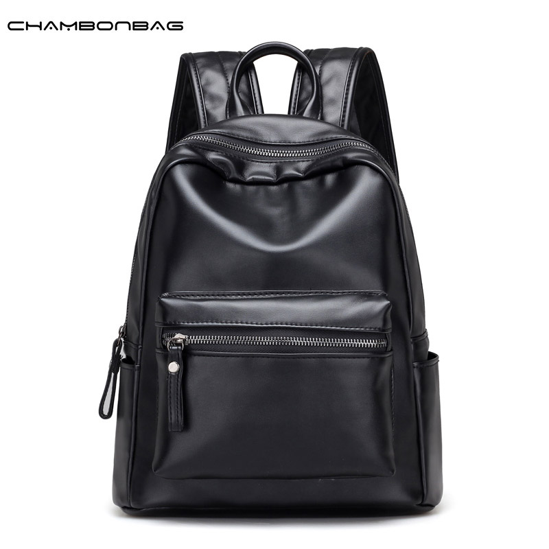 Soft Imitation Leather Women Black Backpack School Girls Fashion Korean Style Large Simple Backbag Female Ladies Mochila N487