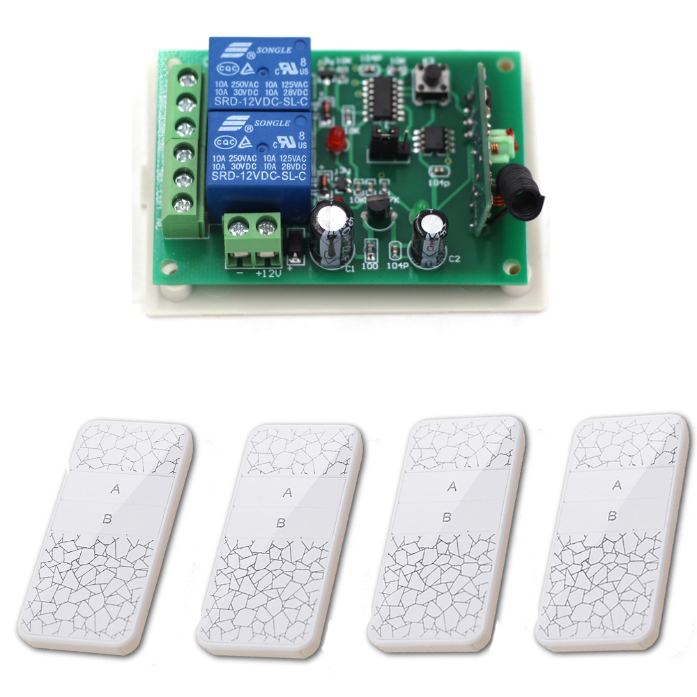 High Quality Wholesale Learnning Code DC12V 24V 2CH Transmitter Receiver RF Wireless Remote Control Switch System 315/433mhz black professional dc12v 24v 2ch rf wireless remote control switch system transmitter receiver with two button 315mhz 433mhz
